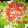 Салат с норвежской семгой и перепелиными яйцами